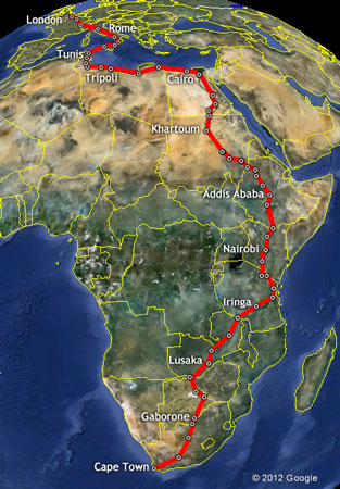 The Africa Record Run Route Outline